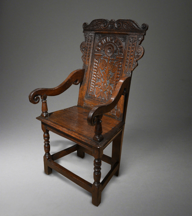A Fine Mid 17th Century Oak Wainscot Chair.