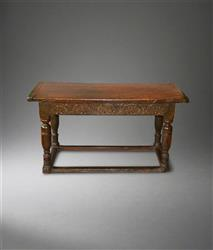 A late Elizabethan oak Communion table.