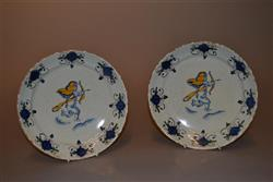 A charming pair early 18th century delft dishes.