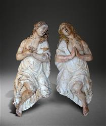 A stunning pair of baroque limewood angels
