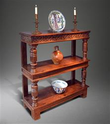 A fine Charles I oak three tier buffet.