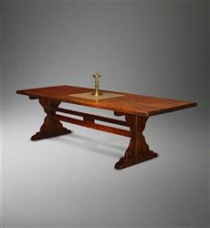 An 18th century beech wood trestle table.