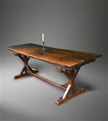 An oak trestle table - basically mediaeval.