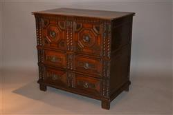 A Charles II oak two part chest of drawers.