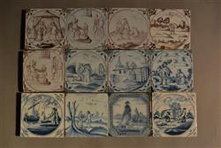 Twelve 18th centur delft tiles.