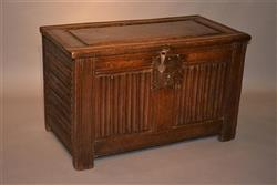 A small mid 16th century linenfold chest.
