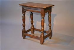 A Charles I oak joint stool.