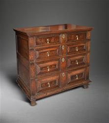 An untouched Charles II oak chest of drawers.