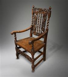 A fine William and Mary oak armchair.