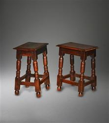 A pair of mid 17th century oak joint stools.