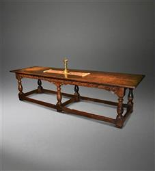 A Charles II oak six leg refectory table.