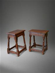 A rare pair of mid 17th century oak joint stools.