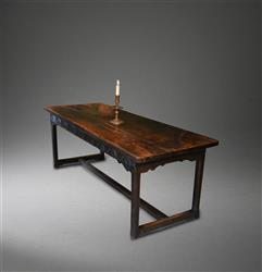 A late 17th century oak refectory table.
