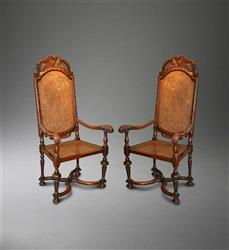 A fine pair of William and Mary walnut armchairs.