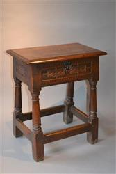 A very rare Charles I oak box top joint stool.