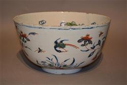 A large early 18th century Dutch delft punch bowl.