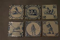 Six late 17th/early 18th century Dutch delft tiles
