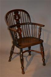 A Nottinghamshire yew wood Windsor armchair.
