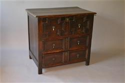A small William and Mary oak chest of drawers.