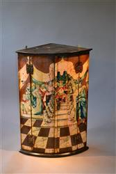 A George III painted corner cupboard.