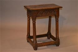 A James I oak joint stool.