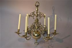 An 18th century brass six branch chandelier.