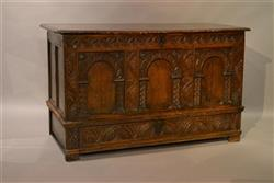 A superb James I oak arcaded front chest.