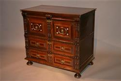 A Charles II oak and fruitwood chest of drawers.
