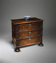 A small late 17th century oak chest of drawers.